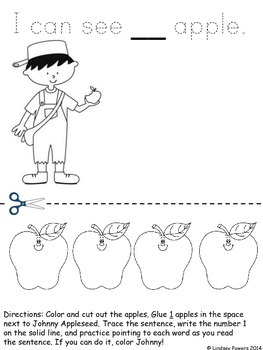 Johnny Appleseed Reading Math #1-10