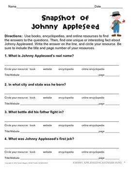 Johnny Appleseed Research Scavenger Hunt