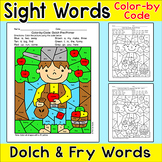 Johnny Appleseed Color by Sight Words Fall Activity