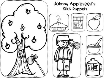 Johnny Appleseed Stick Puppets,  Magnetic Board Pieces  and Crown/Headband