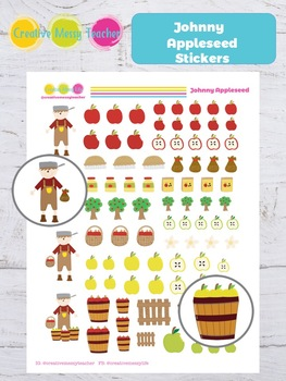 Johnny Appleseed Stickers - Apple Stickers