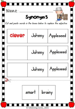 Synonyms Worksheets, Printables -Johnny Appleseed