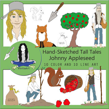 Johnny Appleseed Tall Tales Clip Art bundle