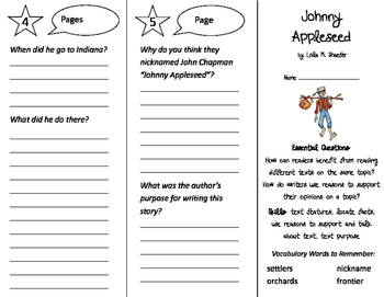Johnny Appleseed Trifold - ReadyGen 2016 2nd Grade Unit 5 Module A
