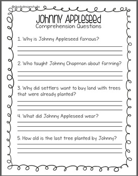 Johnny Appleseed Unit with Multiplication Close Reading Addition and Coloring