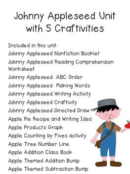 Johnny Appleseed Unit with Nonfiction Book and Craftivities- CCSS Aligned