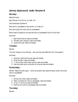 Johnny Appleseed Week Unit