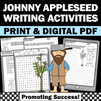 Johnny Appleseed Activities Word Search and Apple Writing Papers