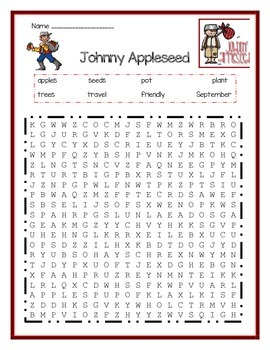 Johnny Appleseed Word Search