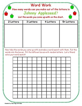 Johnny Appleseed:  Making Words and Extension Activity