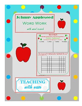 Johnny Appleseed:  Making Words and Extension Word Search Activity