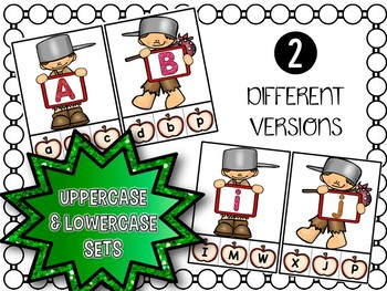 Johnny Appleseed and Apple Alphabet Clip Cards (Lowercase and Uppercase Letters)