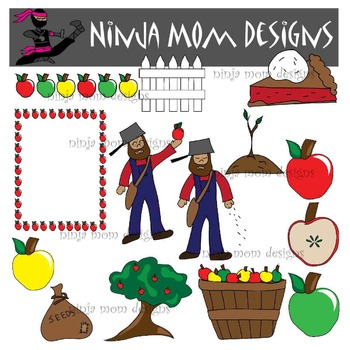 Johnny Appleseed and Apple Clip Art in Color and Black Line