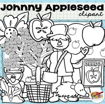 Johnny Appleseed and His Apples {Digital Felt Art}