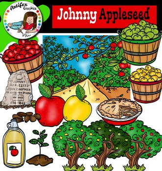 Johnny Appleseed clip art set- Color and B&W-48 items