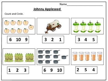 Johnny Appleseed 's Counting Worksheets (1-20):