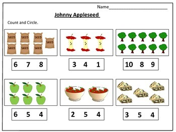 Johnny Appleseed 's Counting Worksheets (1-20): by Kids' Learning Basket