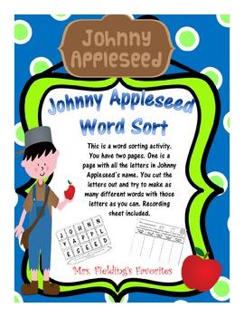 Johnny Appleseed Word Sort