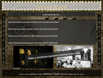 Johnny Cash: 25 slides with text, hyperlinks, primary sources, & handouts