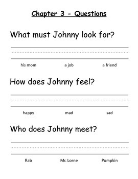 Johnny Tremain - Modifed Book Comprehension Questions Multiple Choice (Dolch)