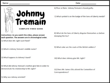 Johnny Tremain: Puzzle Pack - Crosswords, Worksheets, Games | TpT