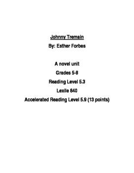 Johnny Tremain Novel Unit