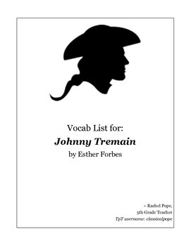 Johnny Tremain Vocabulary Packet
