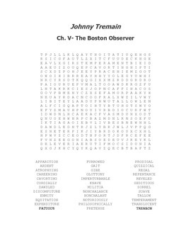 Johnny Tremain Vocabulary Word Search Ch. V