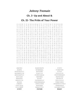 Johnny Tremain Vocabulary Word Search Packet Ch. I-XII