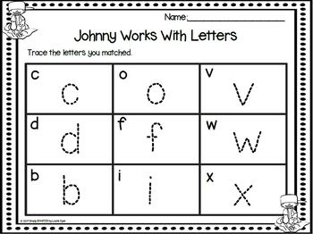 Johnny Works With Letters:  LOW PREP Johnny Appleseed Themed Letter Activity