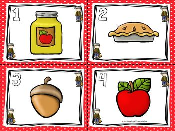"Johnny's ""Apple-syllables"":  LOW PREP Johnny Appleseed Themed Write the Room"