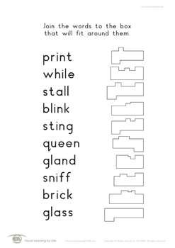 Join Words to Boxes (Visual Perception Worksheets)