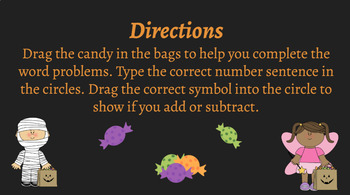 Join and Separate Result Unknown Word Problems Halloween Theme