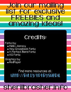 Join our mailing list for exclusive FREEBIES and idea