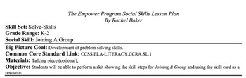 Joining A Group - Social Skills Lesson Plan