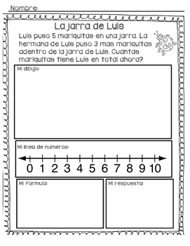 Joining/addition word problems in Spanish