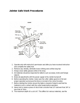 Jointer Safe Operating Procedures