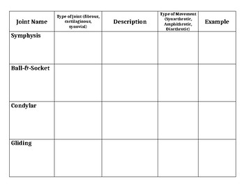 Joints Graphic Organizer