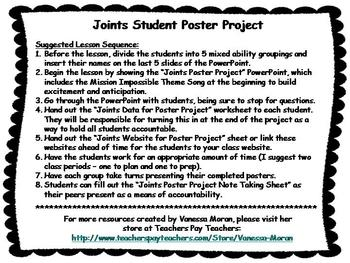 Joints Student Poster Project PowerPoint and Additional Materials