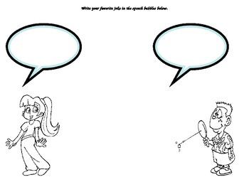 Joke template with speech bubbles