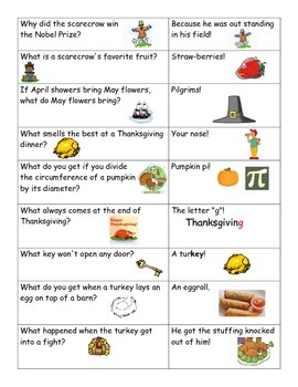 Jokes for Thanksgiving Day Comprehension Match