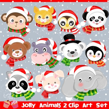 Jolly Christmas Animals 2 Clipart Set