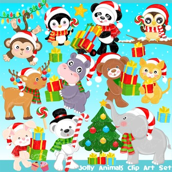 Jolly Christmas Animals Clipart Set