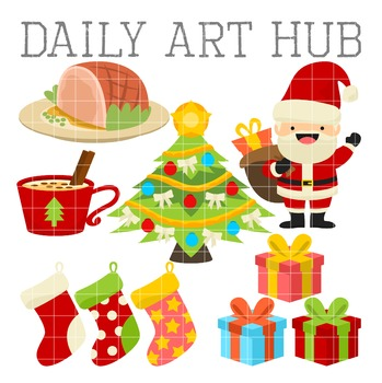 Jolly Christmas Clip Art - Great for Art Class Projects!