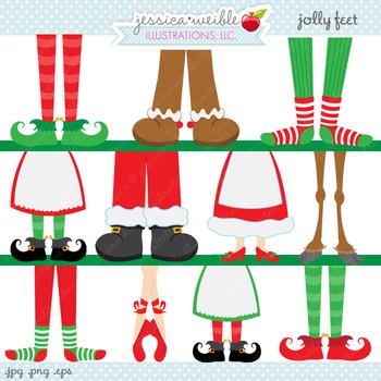Jolly Feet - Cute Digital Clipart, Christmas Graphics