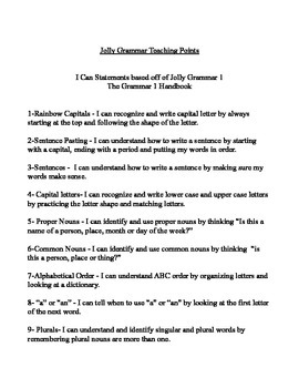 Jolly Grammar 1 - I can statements Lessons #1-20