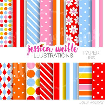 Jolly Holiday Digital Papers, Retro Floral Papers