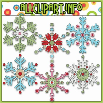 Jolly Hollyday Snowflakes Clip Art