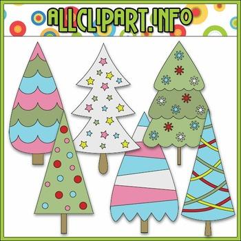 Jolly Hollyday Trees Clip Art
