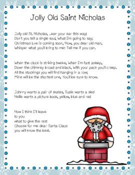 Jolly Old Saint Nicholas Christmas Carol Close Reading Activity
